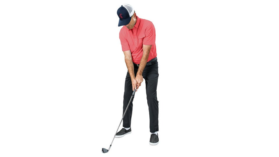 If you set up with a narrow stance and a flared left foot, you won't feel the need to lift on the backswing.