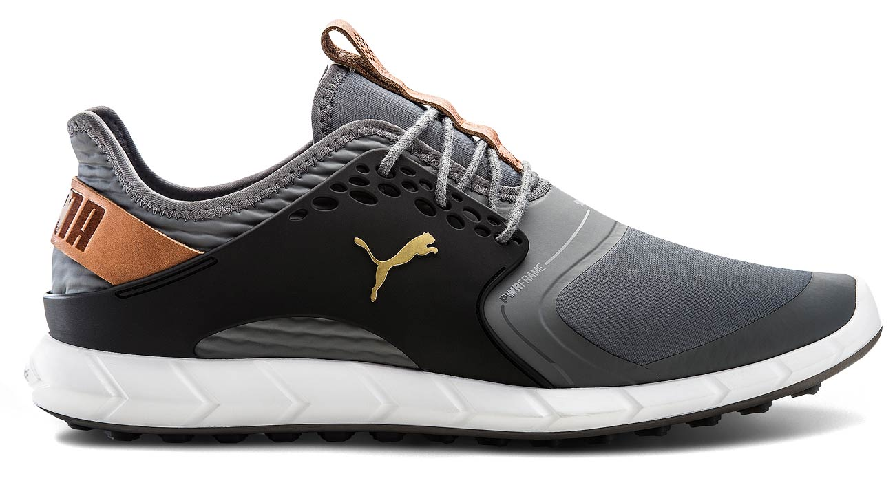 The Puma Ignite PWRSPORT spikeless golf shoes.