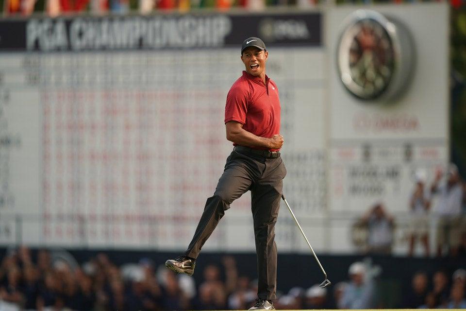 Tiger celebrates at closing birdie at the 2018 PGA Championship at Bellerive.