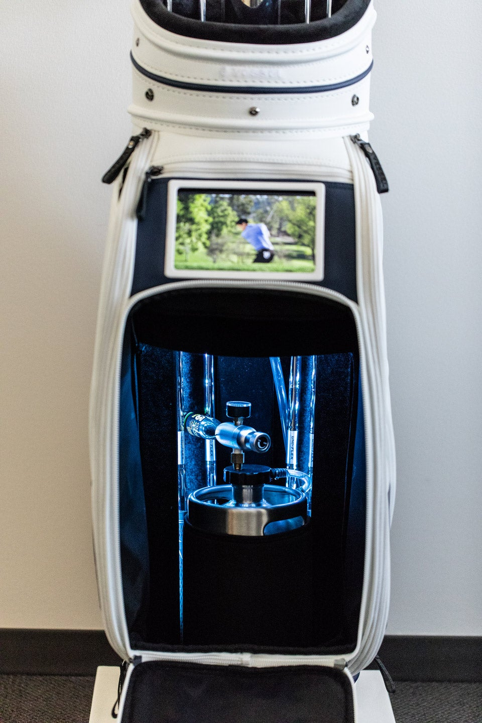 Surprise! The Michelob ULTRA Caddie Bag has room for a 128-ounce keg.