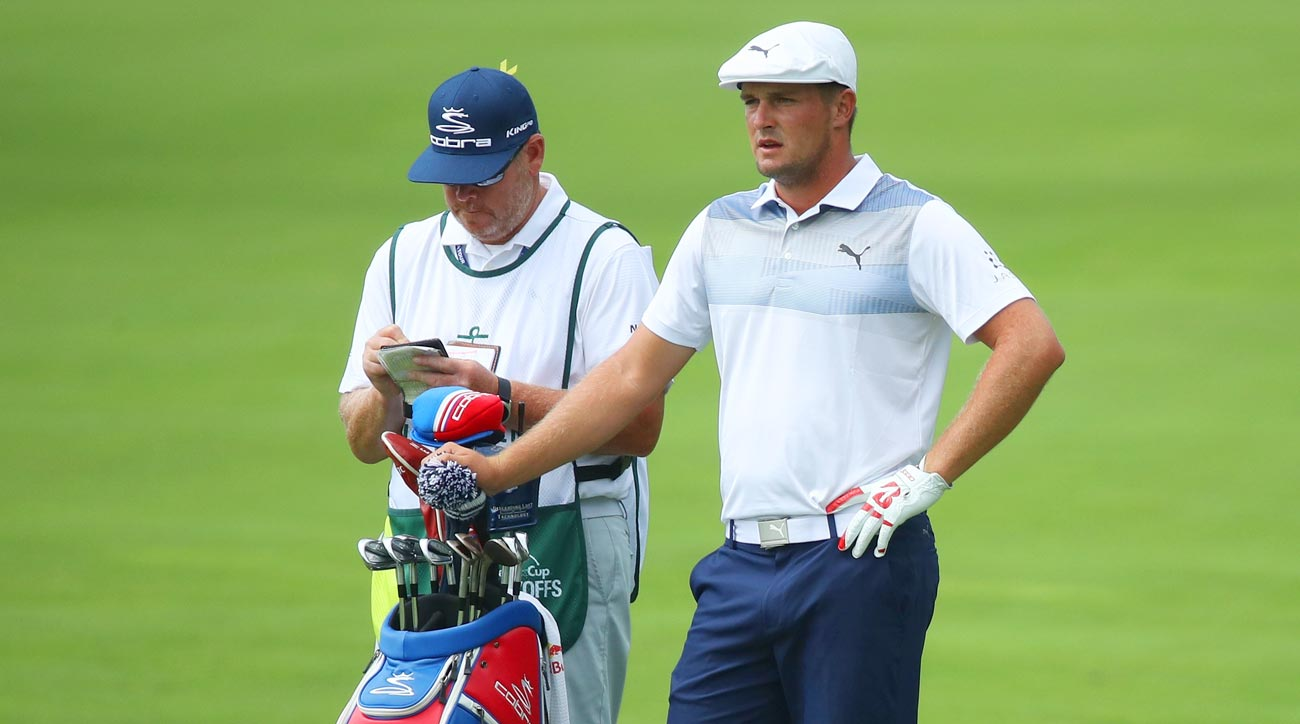 Bryson DeChambeau with his clubs at the 2018 Northern Trust.