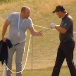 Eddie Pepperell gives his lob wedge to a fan Sunday at the Czech Masters.