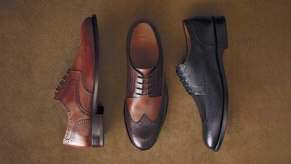 Three models of FootJoy 1857 golf shoes