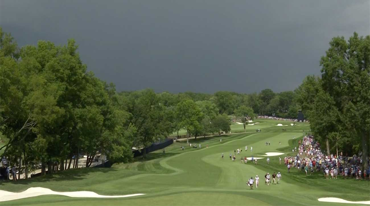 round 2 of pga championship suspended due to approaching