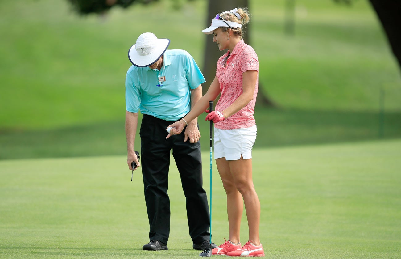 Lexi Thompson rules penalty, 2018 LPGA Indy Women in Tech Championship.