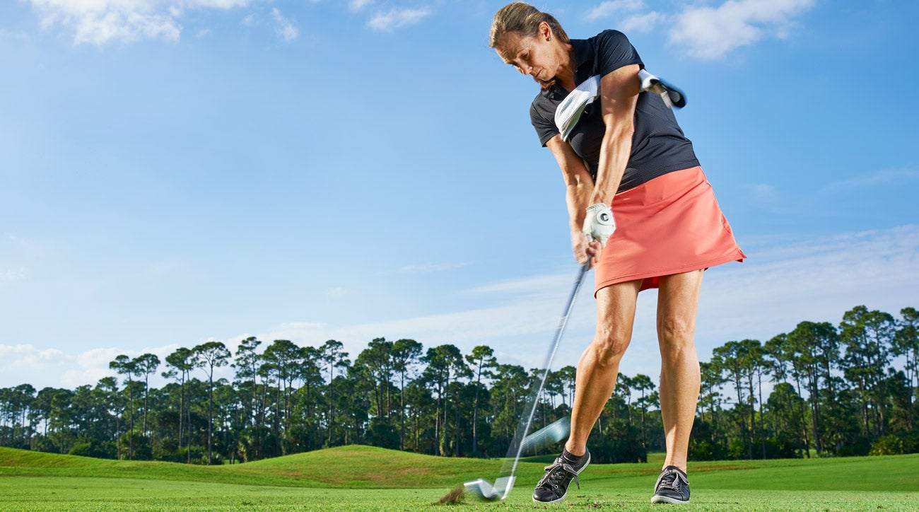 Turn your rib cage as you open your hips. The towel won't fall, and the ball will rocket off the clubface.