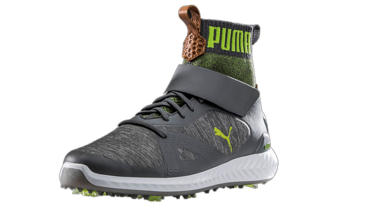 Here's another view of the Puma Ignite PWRADAPT Hi-Top golf shoe.