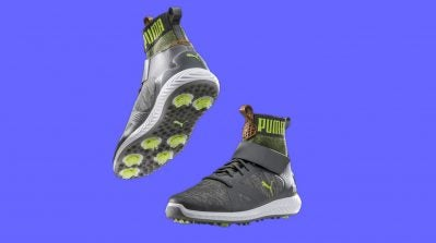 Pictured are the new Puma Ignite PWRADAPT Hi-Top golf shoes.