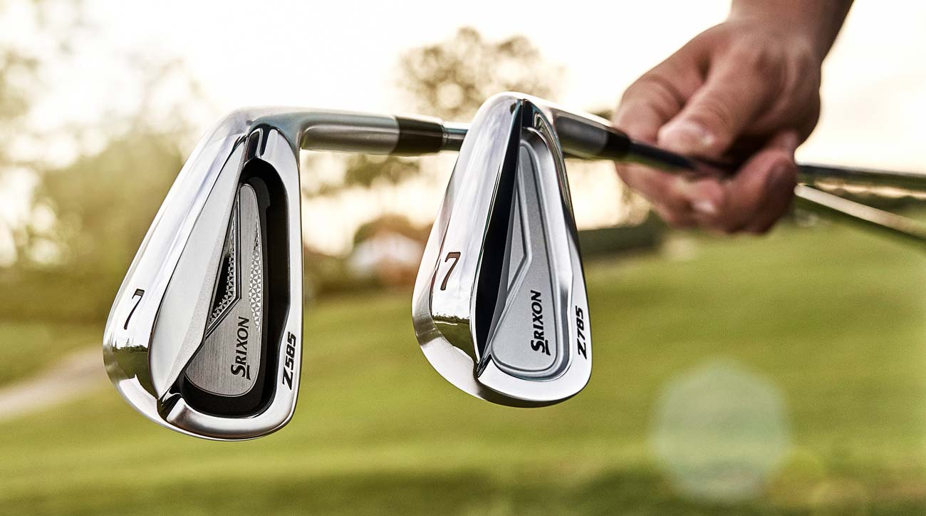 The Srixon Z 585 irons (left) and the Srixon Z 785 irons.
