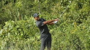 Tiger Woods pictured during the first round of the 2018 Dell Technologies Championship.