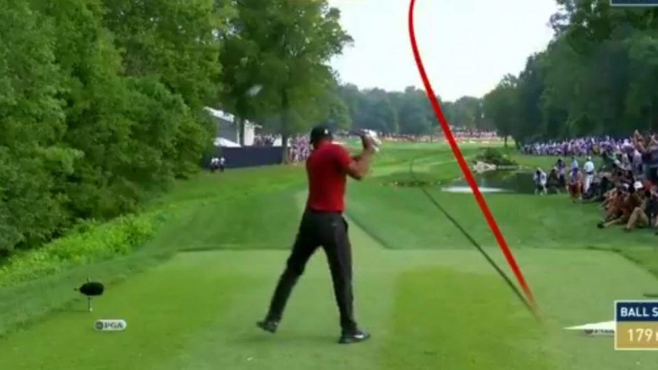 Tiger Woods drive on 17, PGA Championship