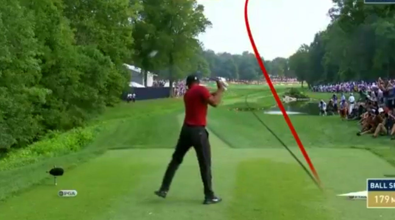 pga championship 2018  tiger woods undone by wild drive on
