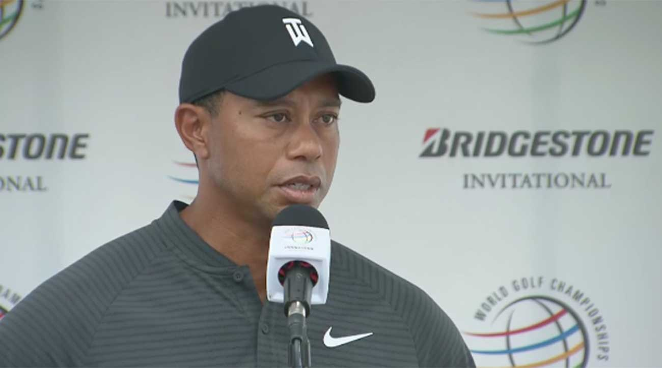 Tiger Woods speaks to the media prior to the WGC-Bridgestone on Thursday in Akron.