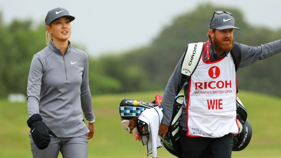Michelle Wie kept her injured hand in a glove during parts of her Thursday round.