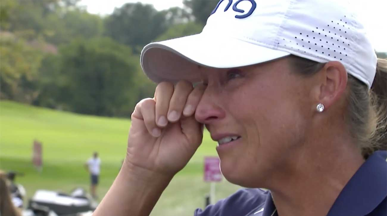 Angela Stanford wipes away tears moments after winning her first career major title.