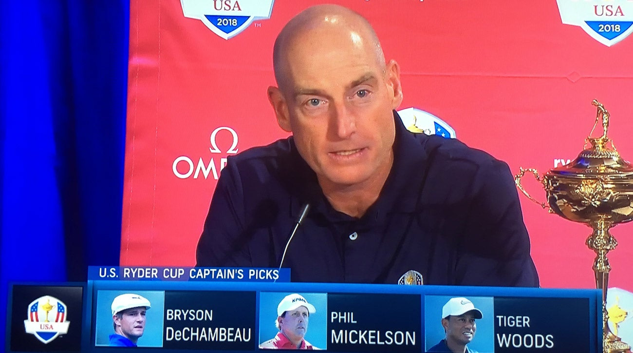 Jim Furyk announced his first three captain's picks and three additional vice captains from Philadelphia on Tuesday.