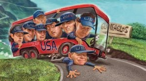 Phil Mickelson Tom Watson Gleneagles Ryder Cup bus
