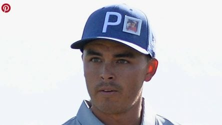 Rickie Fowler wore a photo of superfan Griffin Connell during the Waste Management Open.