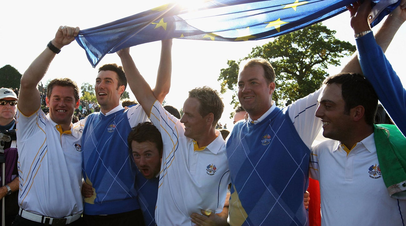 Luke Donald (in white, middle) came through in a big way in Europe's 2010 win at Celtic Manor.