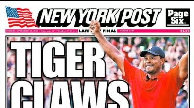 'Roaring Back': Tiger Woods's victory makes newspaper front pages across the country