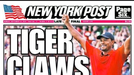 Tiger Woods on the front page of the New York Post.