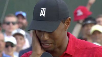 WATCH: An emotional Tiger Woods fights tears after winning the Tour Championship, 80th career PGA Tour win