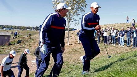 Phil Mickelson and Tiger Woods walking at Ryder Cup.