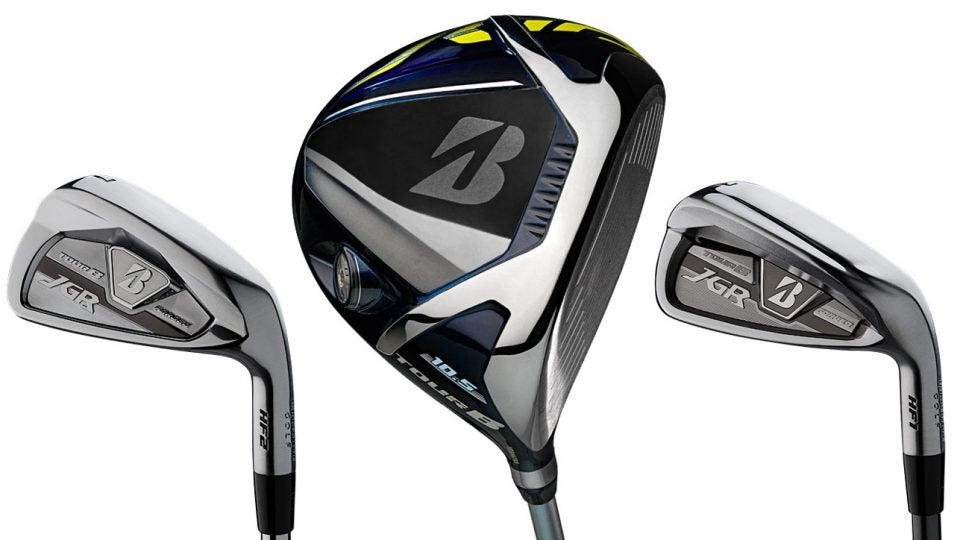 Left to right: Bridgestone Tour B JGR HF2 iron, Bridgestone Tour B JGR driver, Bridgestone Tour B JGR HF1 iron.