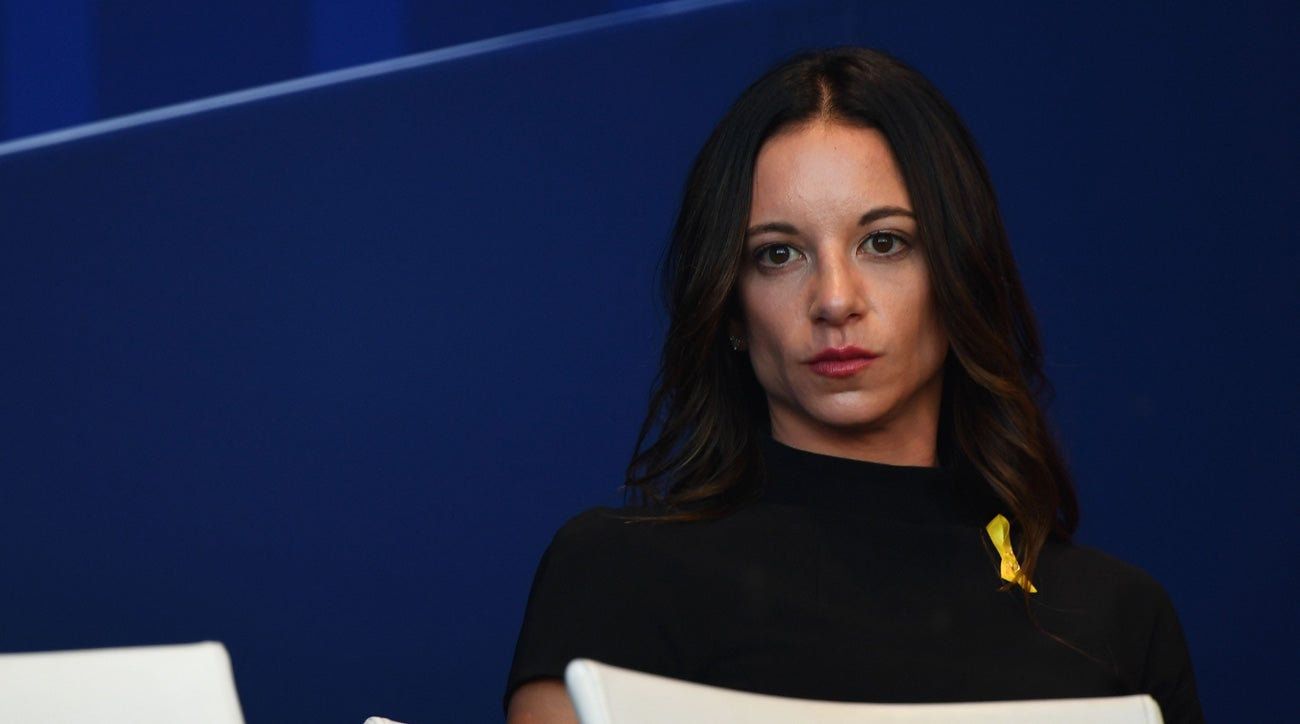 Erica Herman, girlfriend to Tiger Woods, at the Ryder Cup opening ceremony.