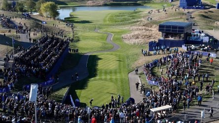The view from the top of the mega-stand behind the 1st tee.