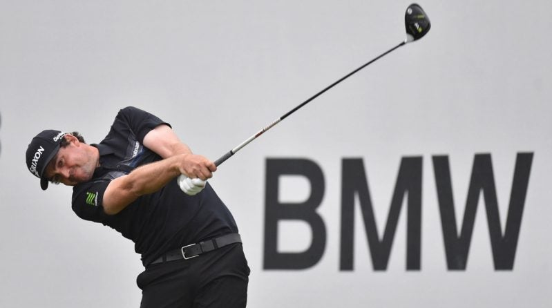 Keegan Bradley's golf clubs during the third round of the BMW Championship.