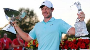 Rory McIlroy celebrates winning the Tour Championship and FedEx Cup title in 2016.