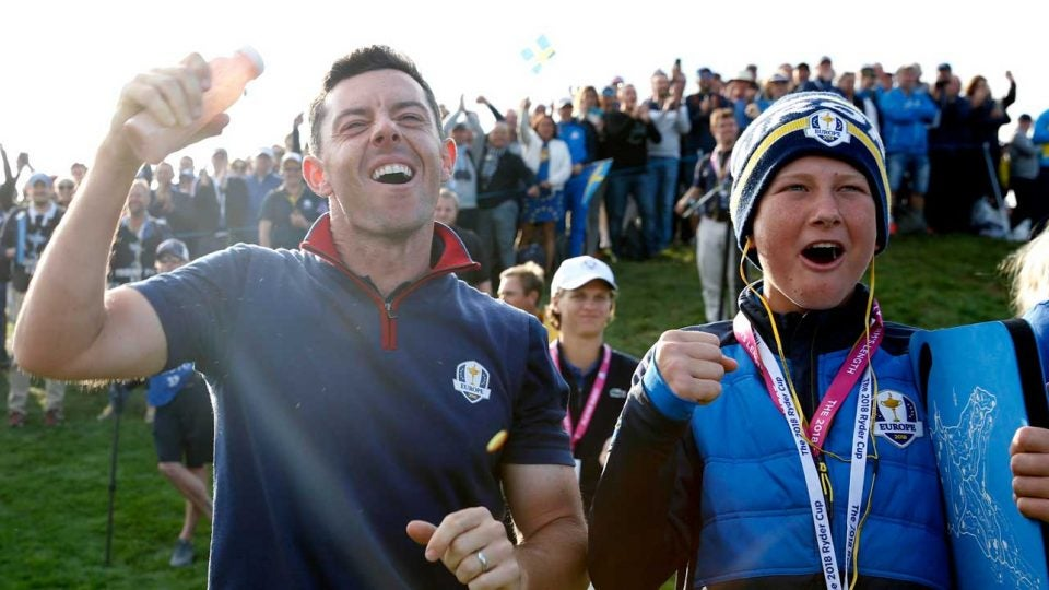 Rory McIlroy on Friday during the 2018 Ryder Cup.