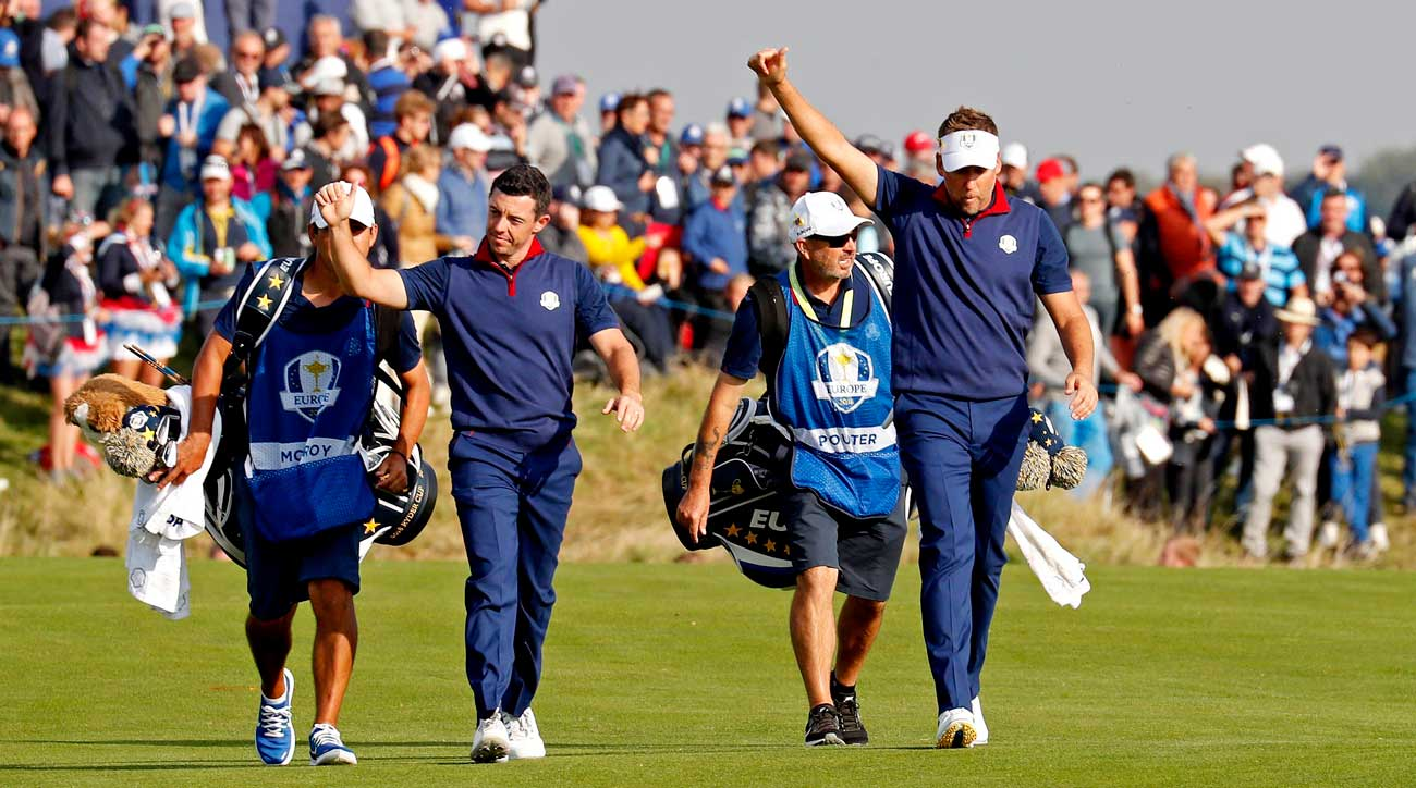 Rory McIlroy and Ian Poulter on Ryder Cup Friday.