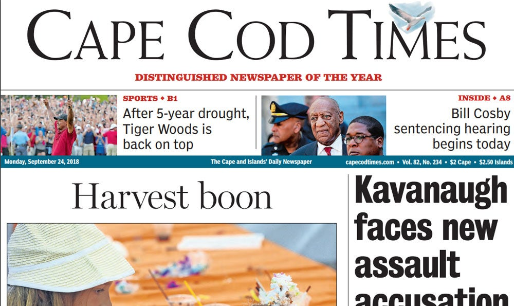 Tiger Woods on front page of The Cape Cod Times..