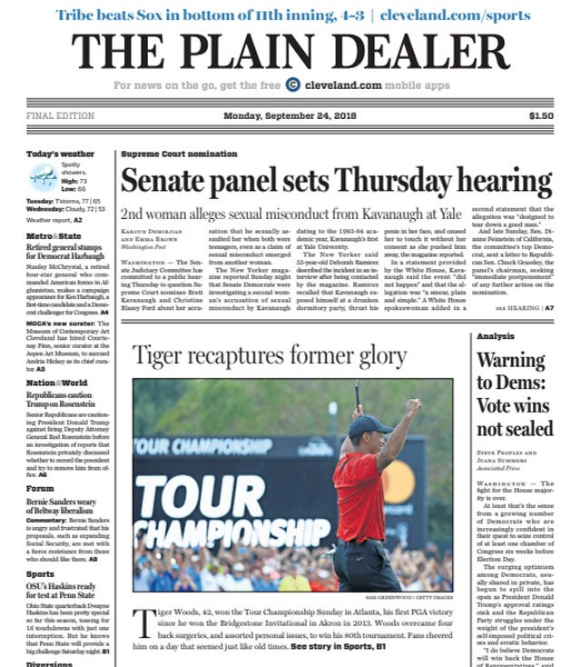 Tiger Woods on front page of the The Cleveland Plain Dealer.