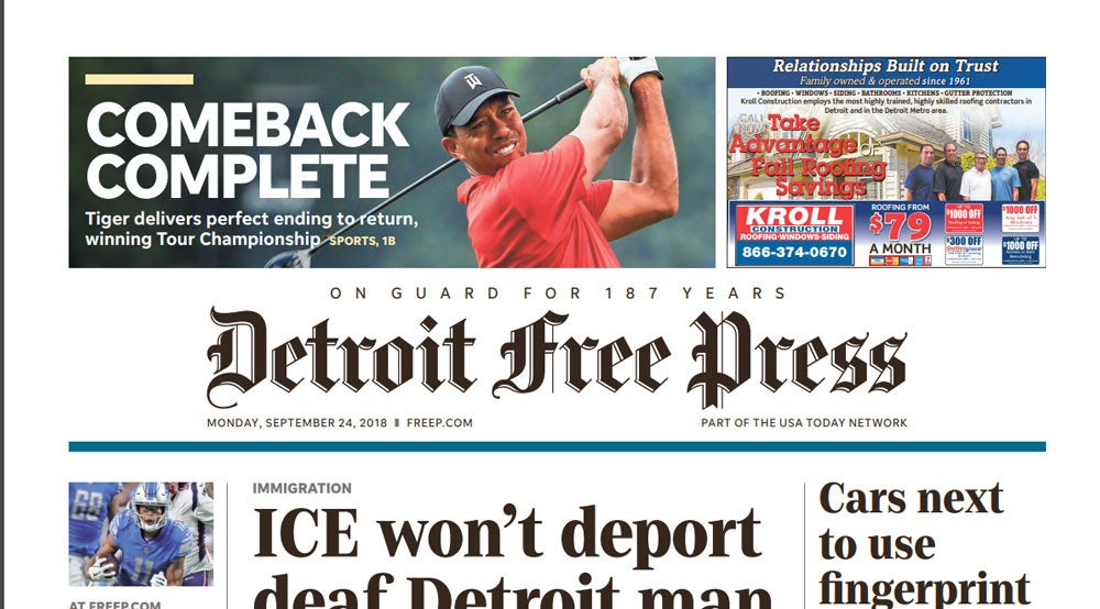 Tiger Woods on front page of the Detroit Free Press.