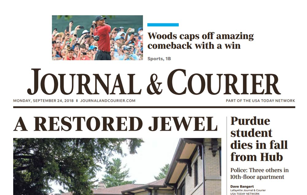 Tiger Woods on the front page of The Journal & Courier.