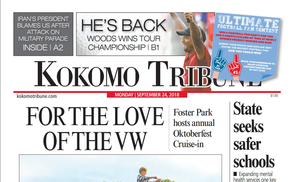 Tiger Woods on front page of the Kokomo Tribune.