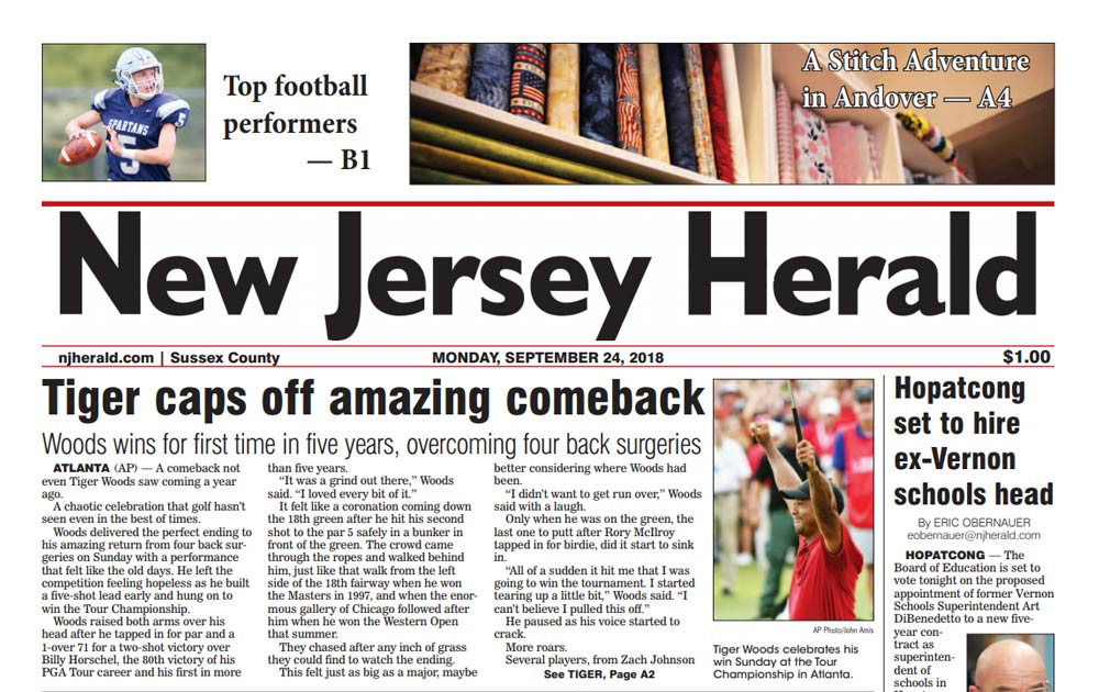 Tiger Woods on front page of the New Jersey Herald.