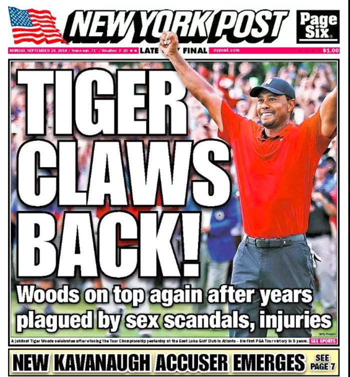 Tiger Woods on the back page of the New York Post.