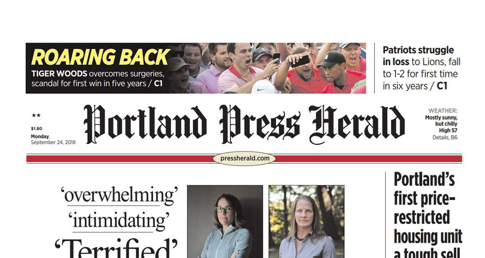 Tiger Woods on front page of the Portland Press Herald.