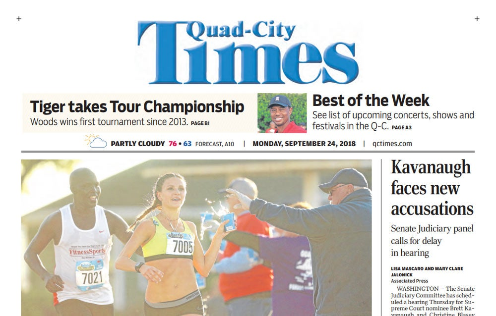 Tiger Woods on front page of the Quad-City Times.