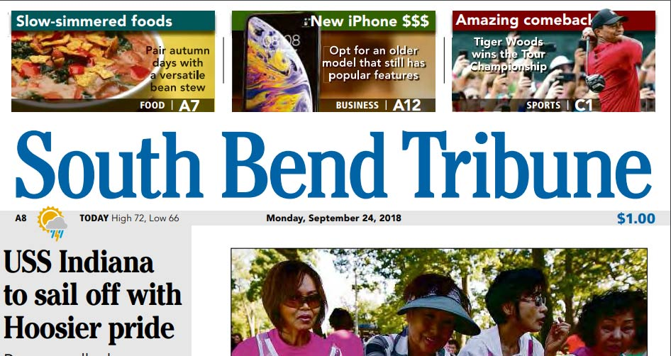 Tiger Woods on the front page of the South Bend Tribune.