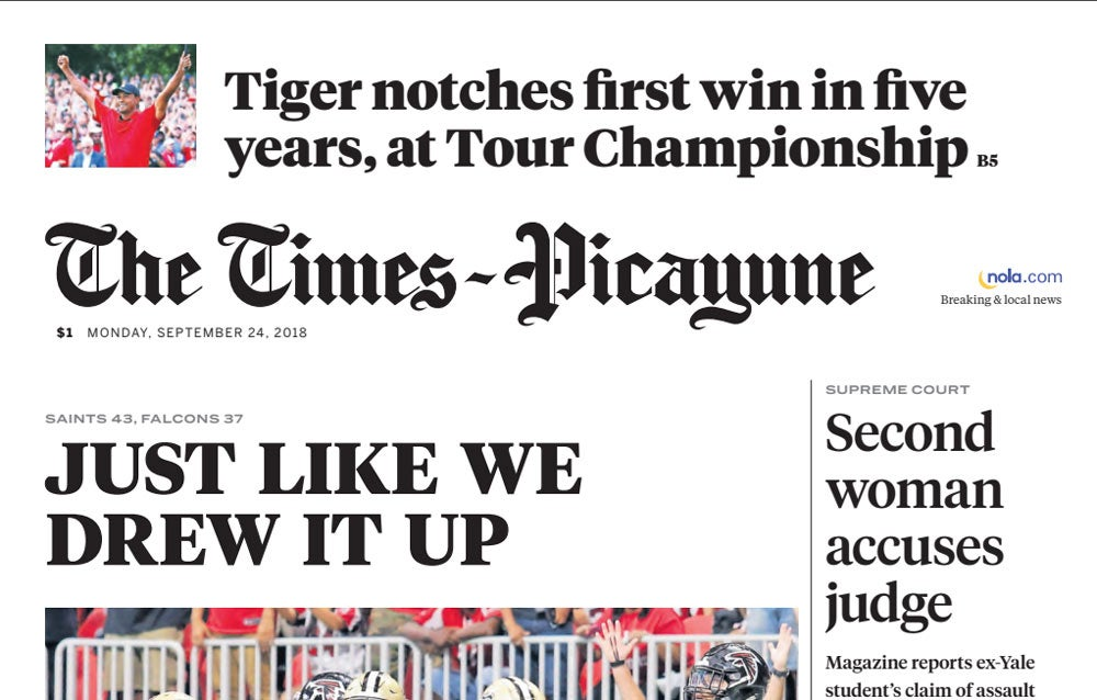 Tiger Woods on the front page of Times-Picayune.