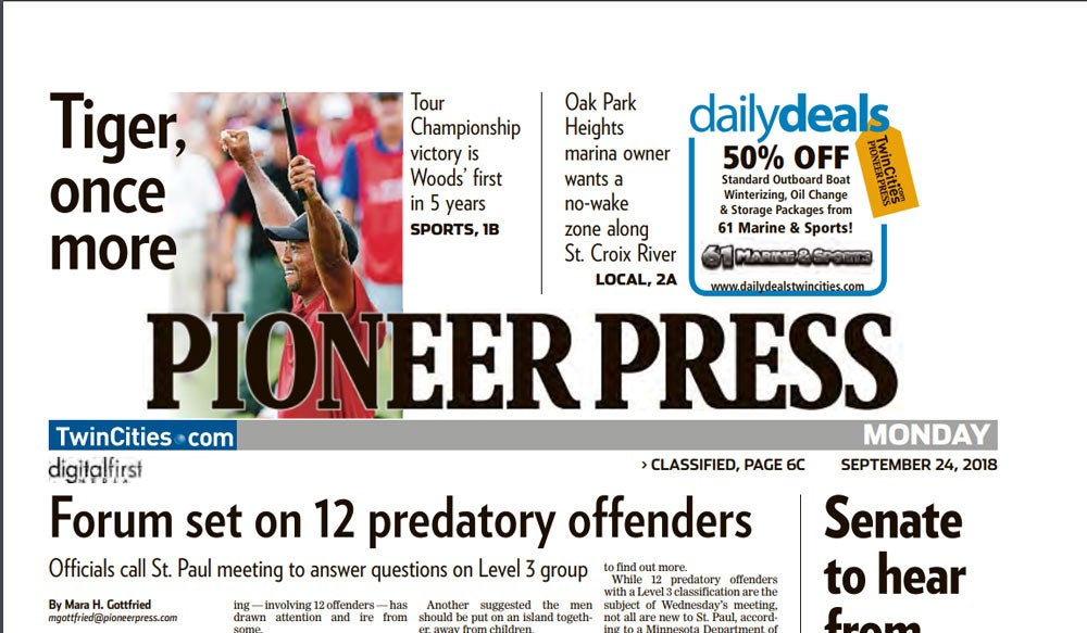 Tiger Woods on front page of the Pioneer Press.