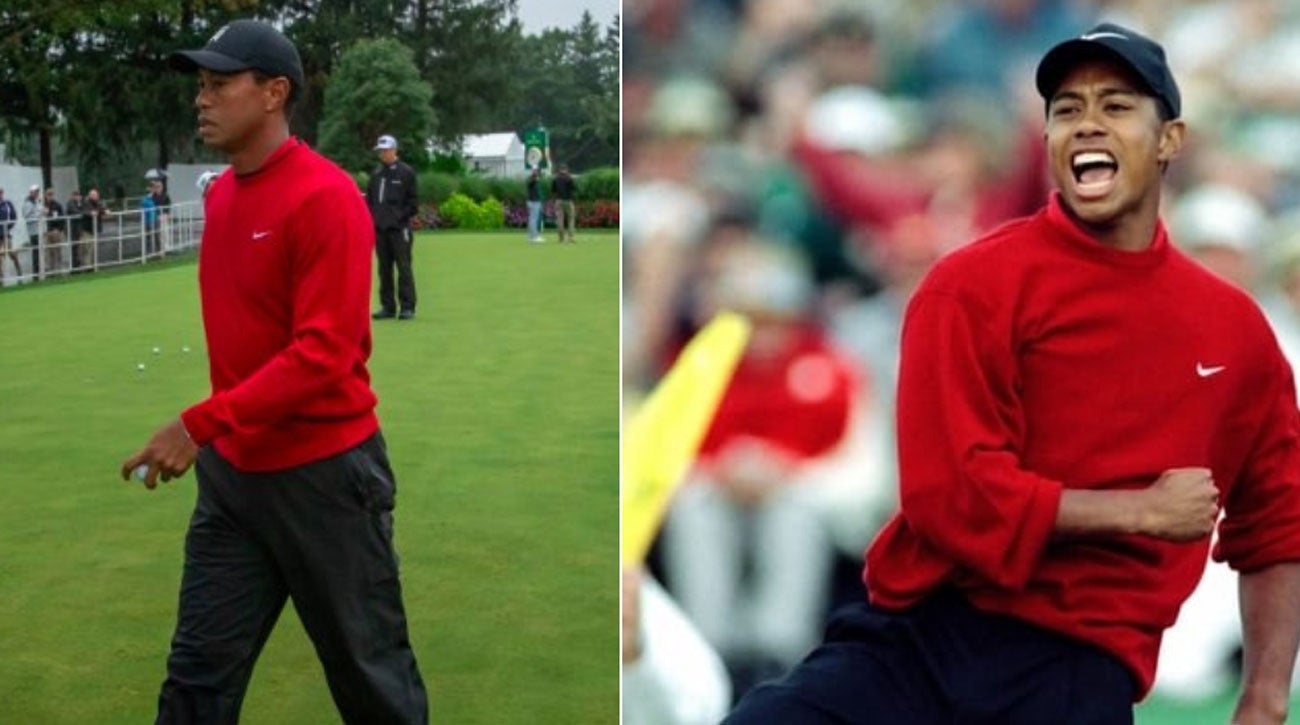 tiger u0026 39 s red sweater at bmw evokes iconic outfit from his
