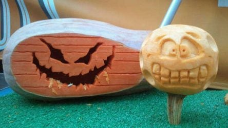 An oddly-shaped pumpkin is creatively transformed into a spooky driver, while an upside-down pumpkin makes a perfect teed-up ball.