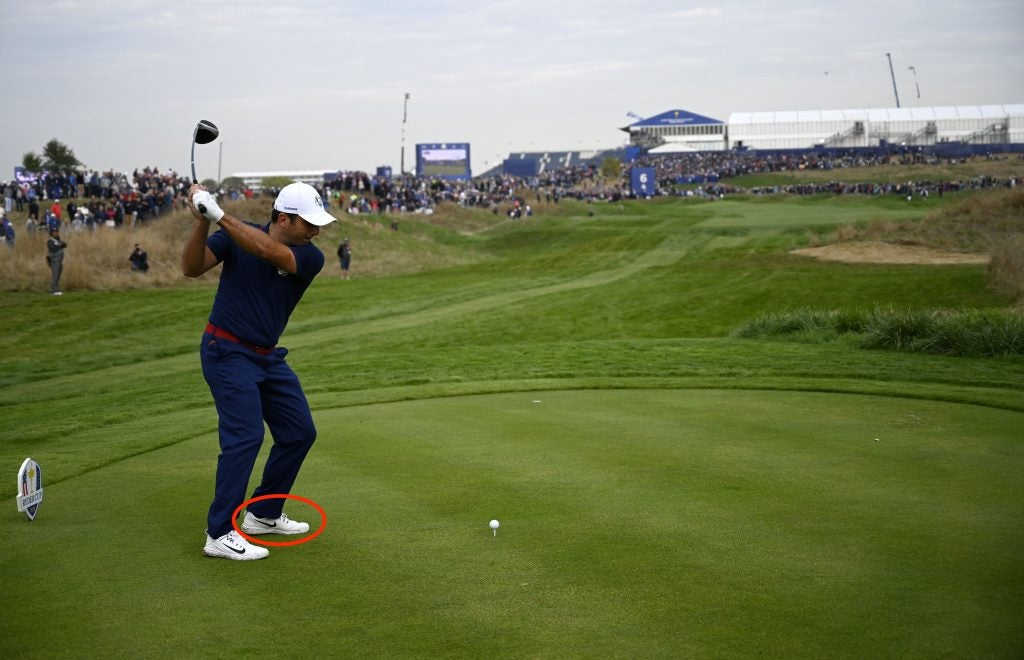 Europe's Italian golfer Francesco Molinari plays a tee shot during his fourball match on the first day of the 42nd Ryder Cup at Le Golf National Course at Saint-Quentin-en-Yvelines, south-west of Paris on September 28, 2018. (Photo by Eric FEFERBERG / AFP) (Photo credit should read ERIC FEFERBERG/AFP/Getty Images)