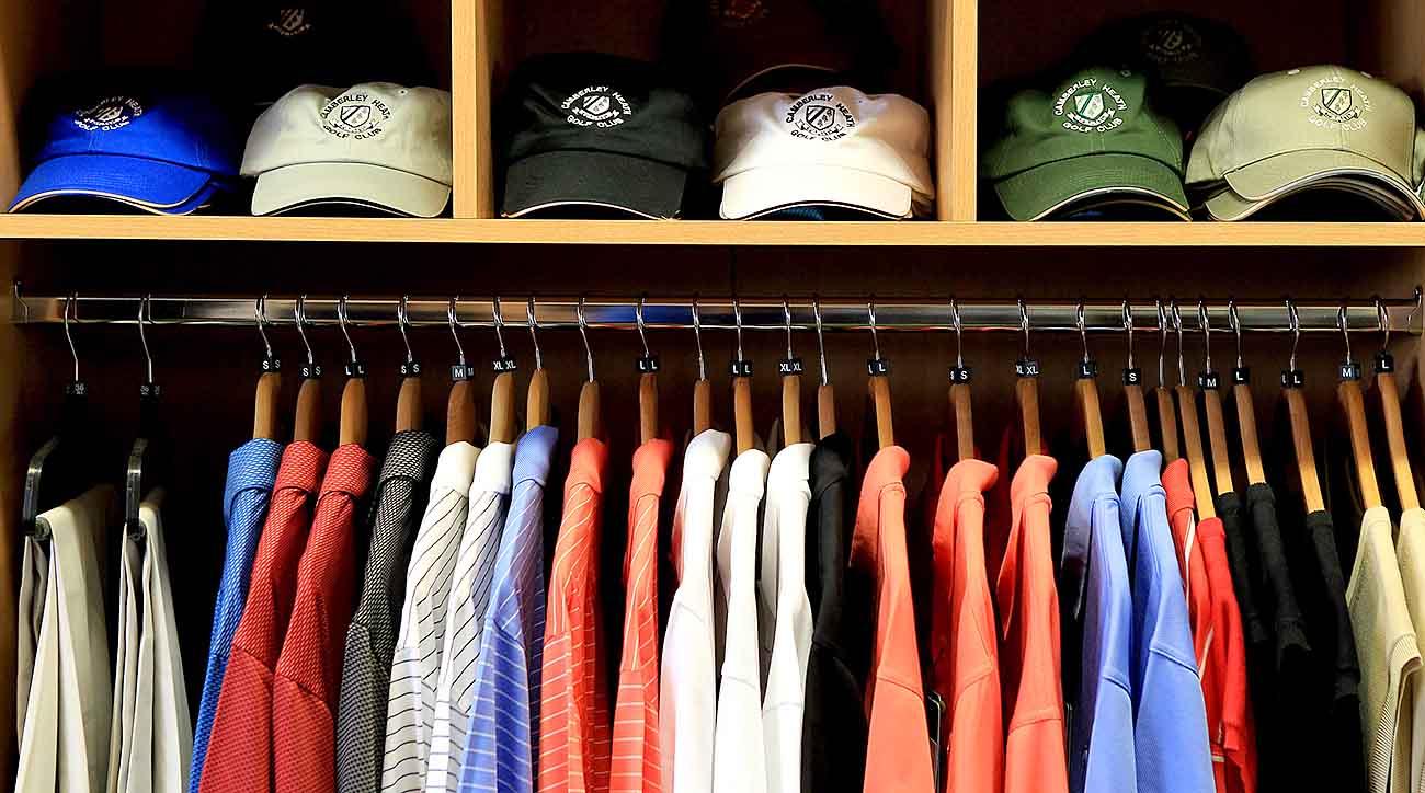 Golf pro shop, hats, polos